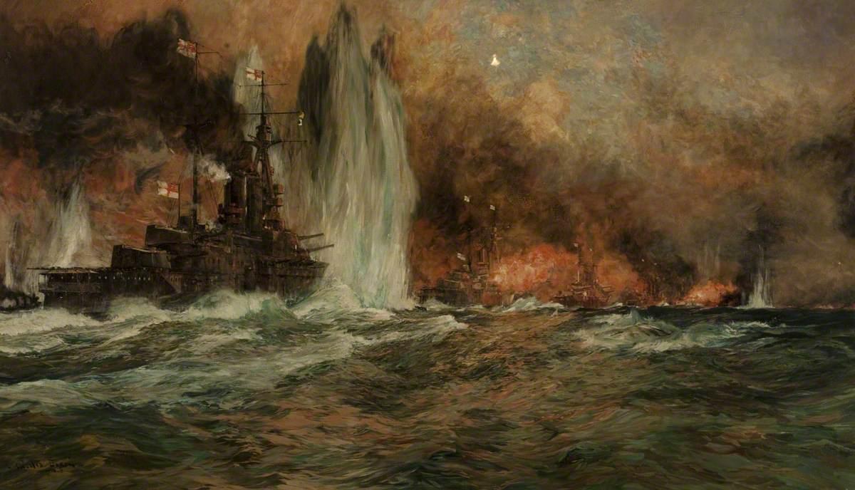 Чарльз Дискон. Ютландское сражение. 1916. Масло, холст. 105х181 см. Художественный музей, Блэкберн, Великобритания.