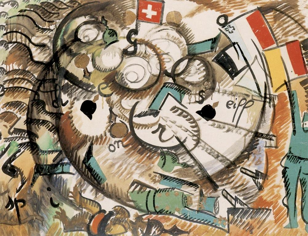 Алиса Бейли. Битва за Толошеназ. 1916. Масло и уголь, бумага. 56х75 см. Частная коллекция.