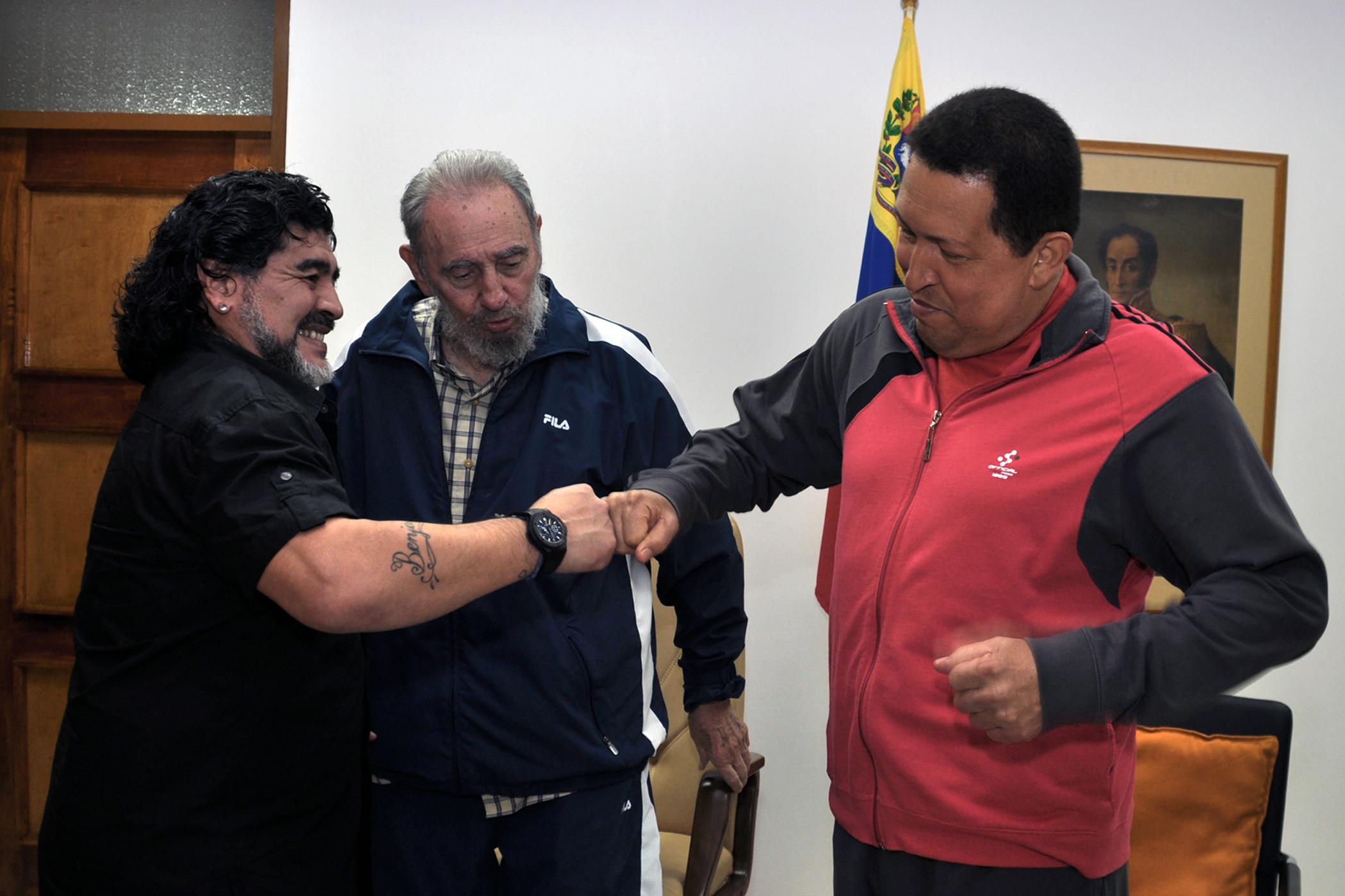 Марадона, Кастро и Чавез. Последняя встреча в Гаване.