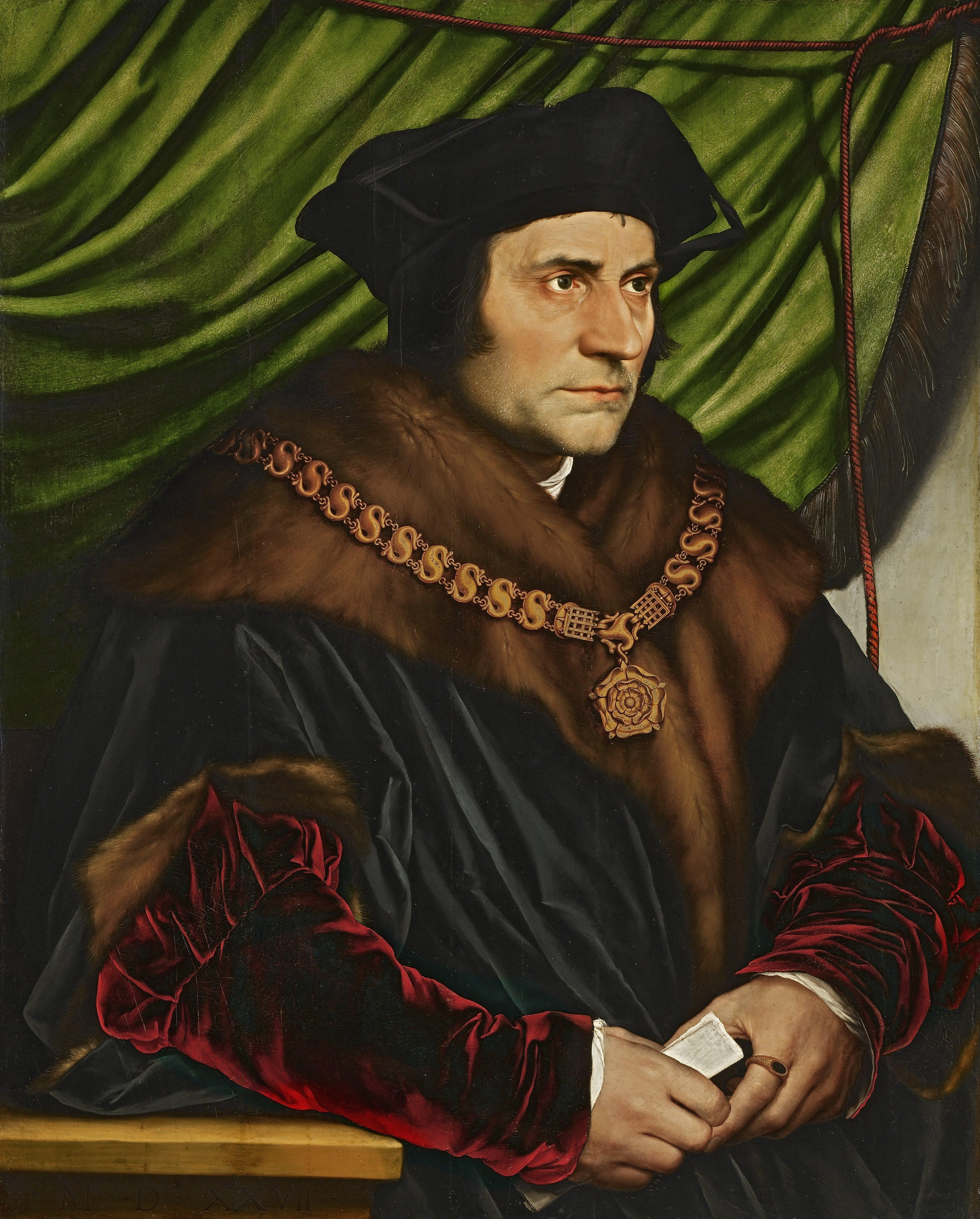 Ганс Гольбейн (1457-1583). Портрет сэра Томаса Мора. 1527. Масло, дуб. 74,9 х 60,3 см. Коллекция Фрика, Нью-Йорк.