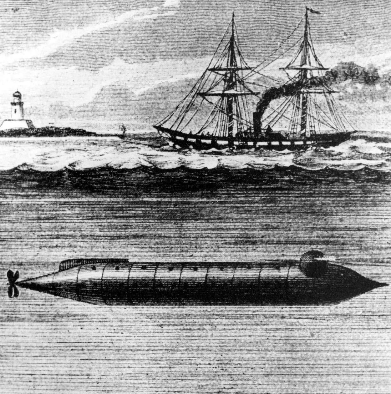 На первых иллюстрациях к роману не только подводный корабль, но и охотящийся на него паровой фрегат изображены вовсе без флагов.