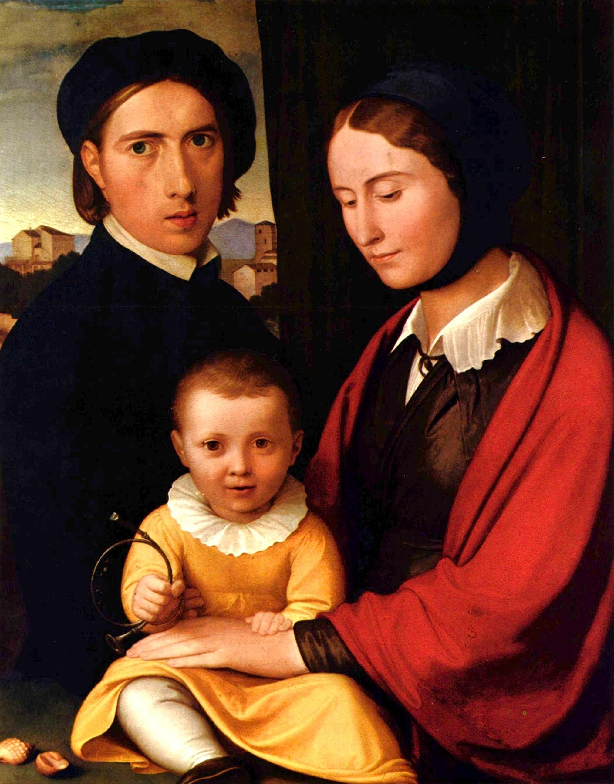 Фридрих Овербек. Автопортрет с семьей. 1820. Масло, дерево. 46х37 см. Музей Бенхаус, Любек.