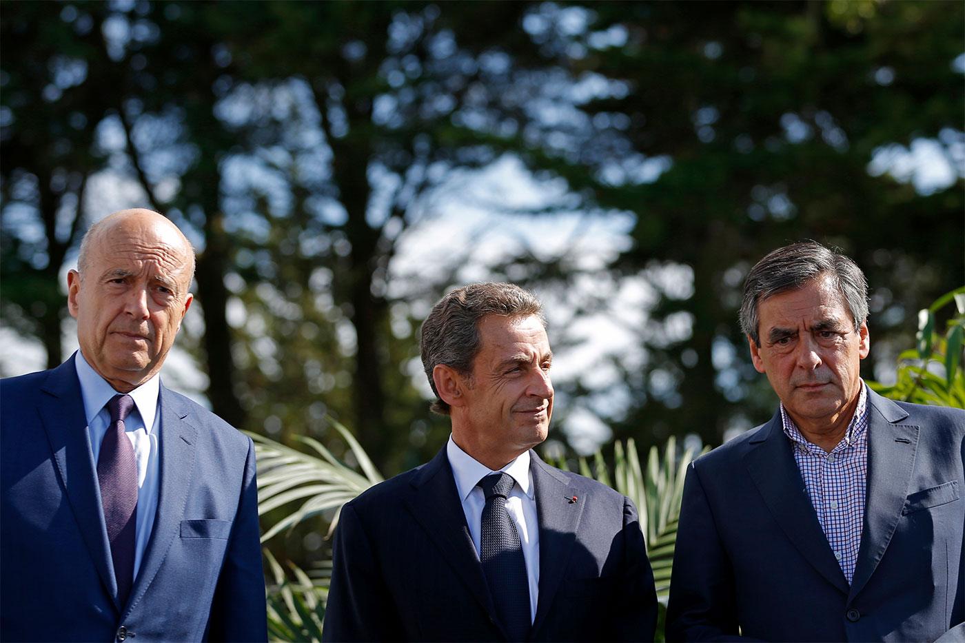 Участники право-центристских праймериз (слева направо): Ален Жюпе, Николя Саркози, Франсуа Фийон.