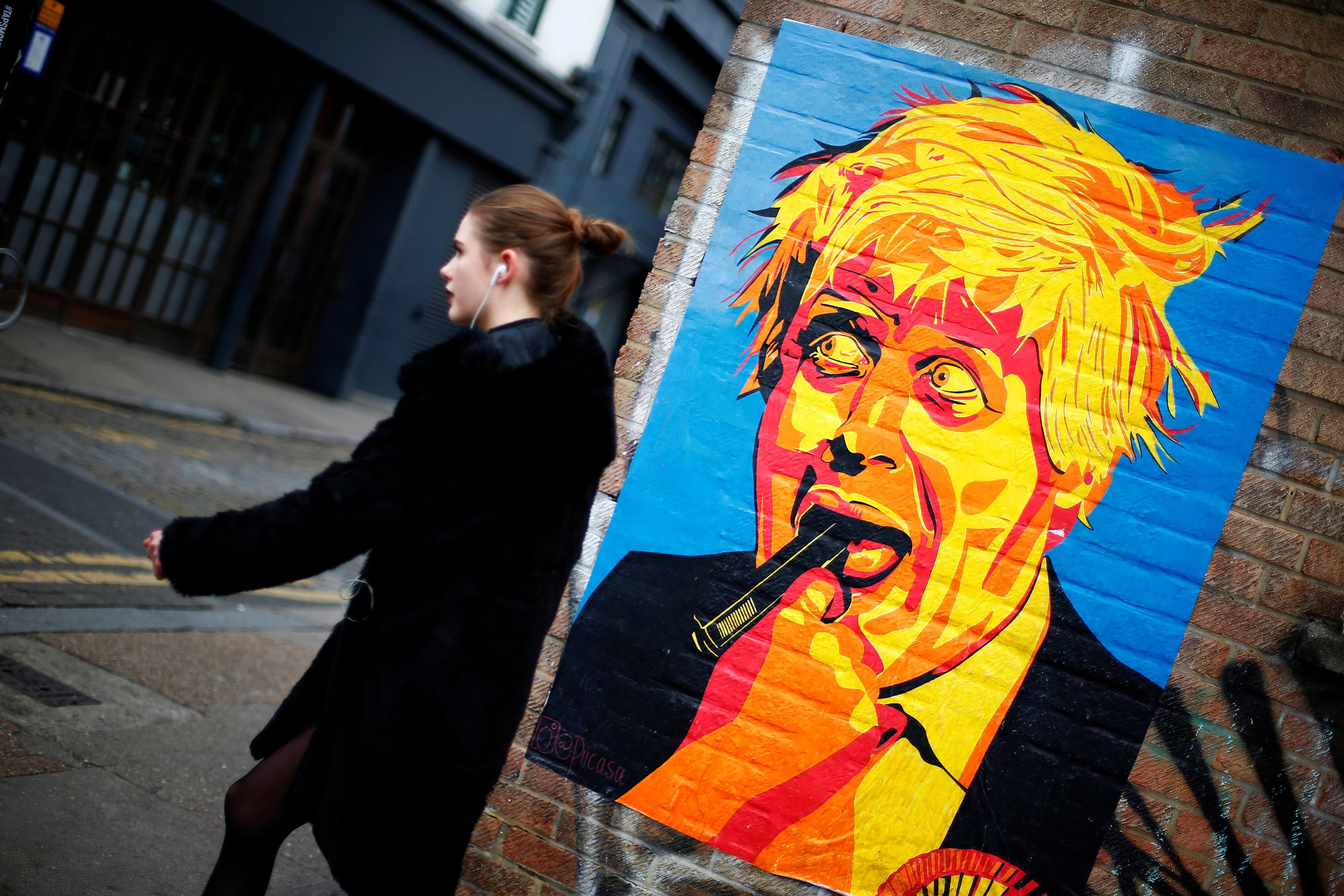 Карикатура на Бориса Джонсона. Восточный Лондон. 18 ноября 2016 года.