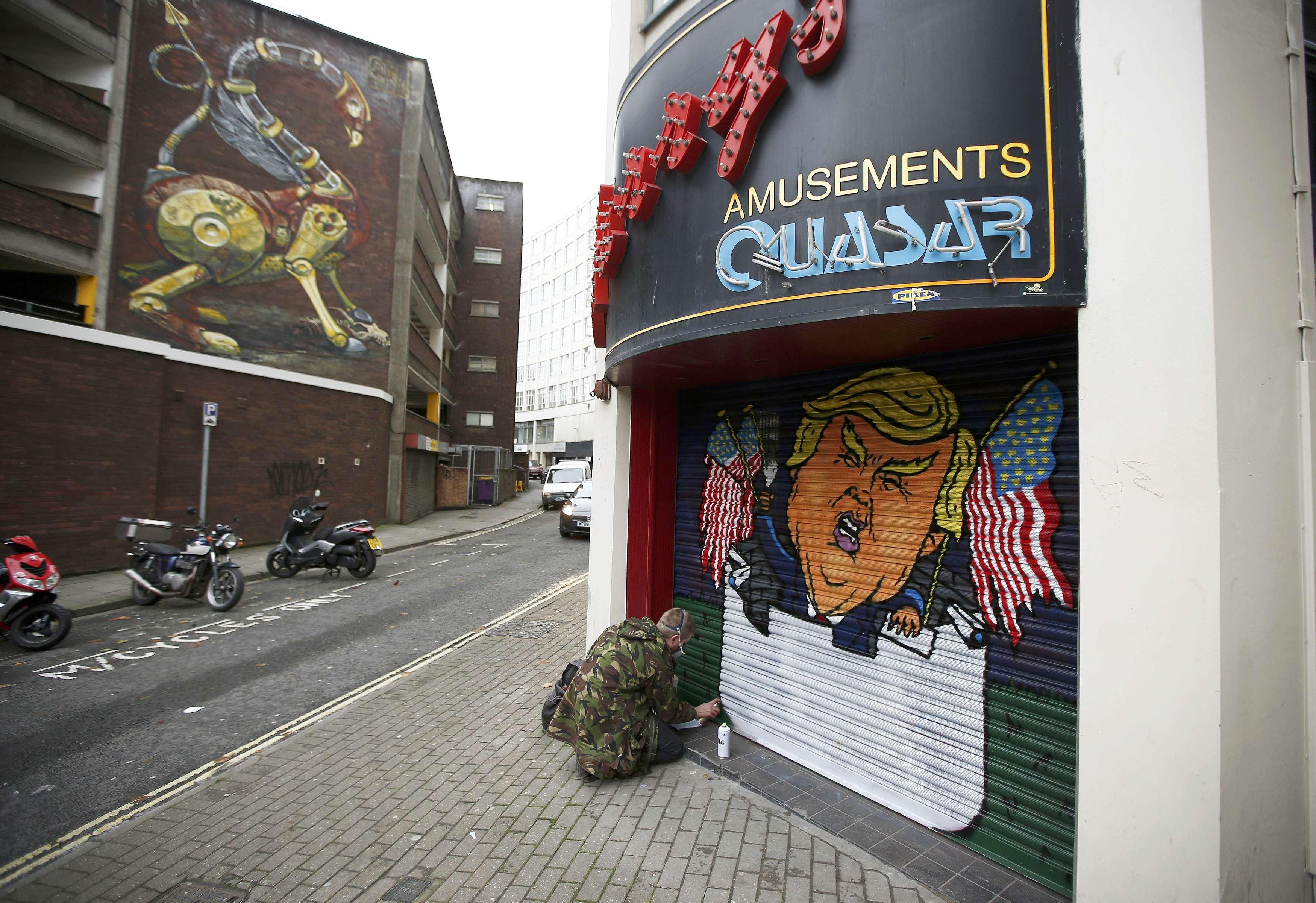 Карикатура на Дональда Трампа. Бристоль, Великобритания. 24 ноября 2016 года.