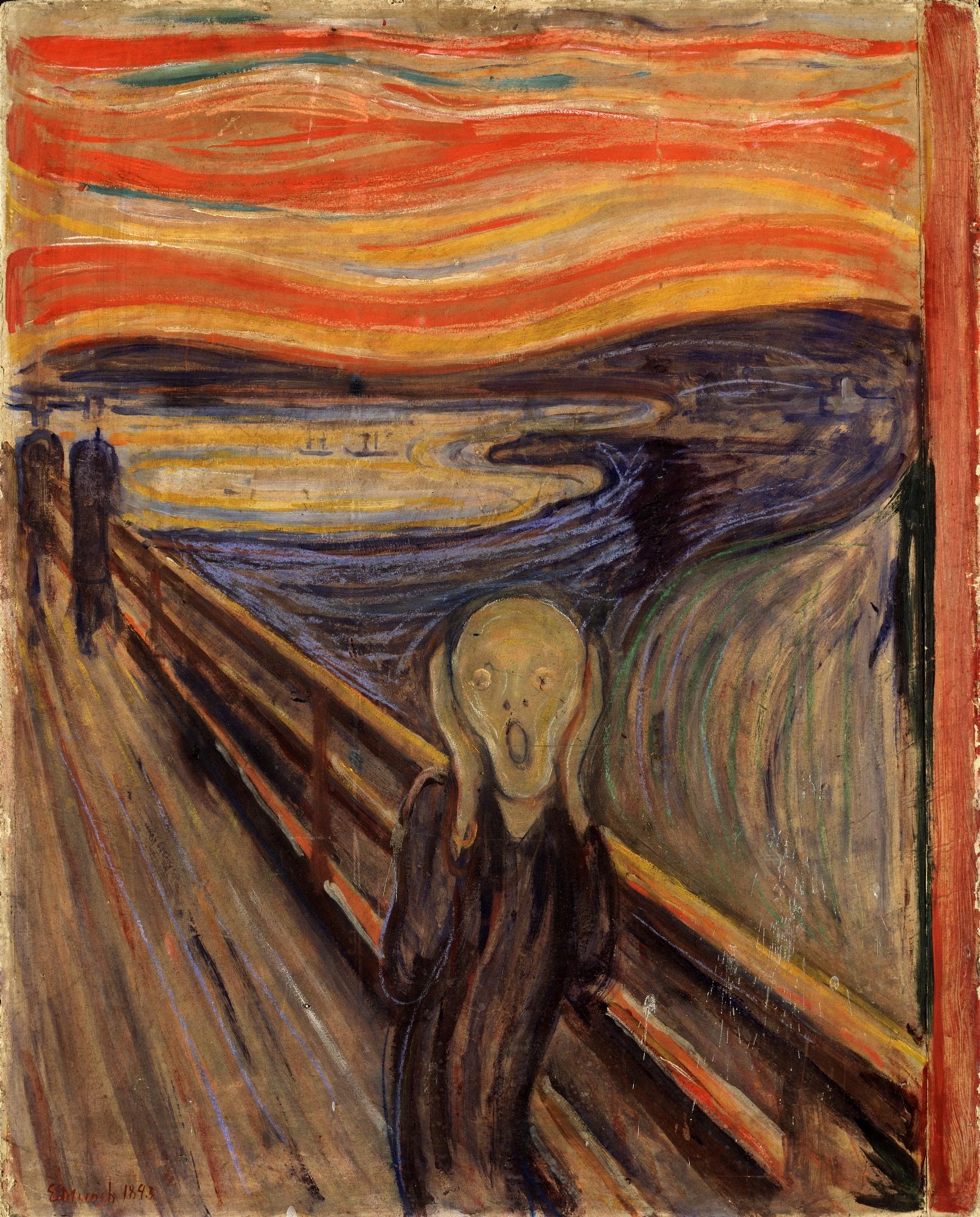 Эдвард Мунк. Крик. 1893. Картон, масло, темпера, пастель. 91х73,5 см. Национальная галерея, Осло.