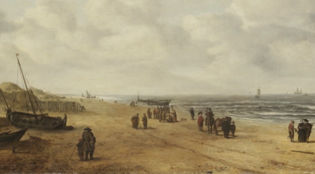 Картина Хендрика ван Антониссена «Сцена на берегу» до и после реставрации.