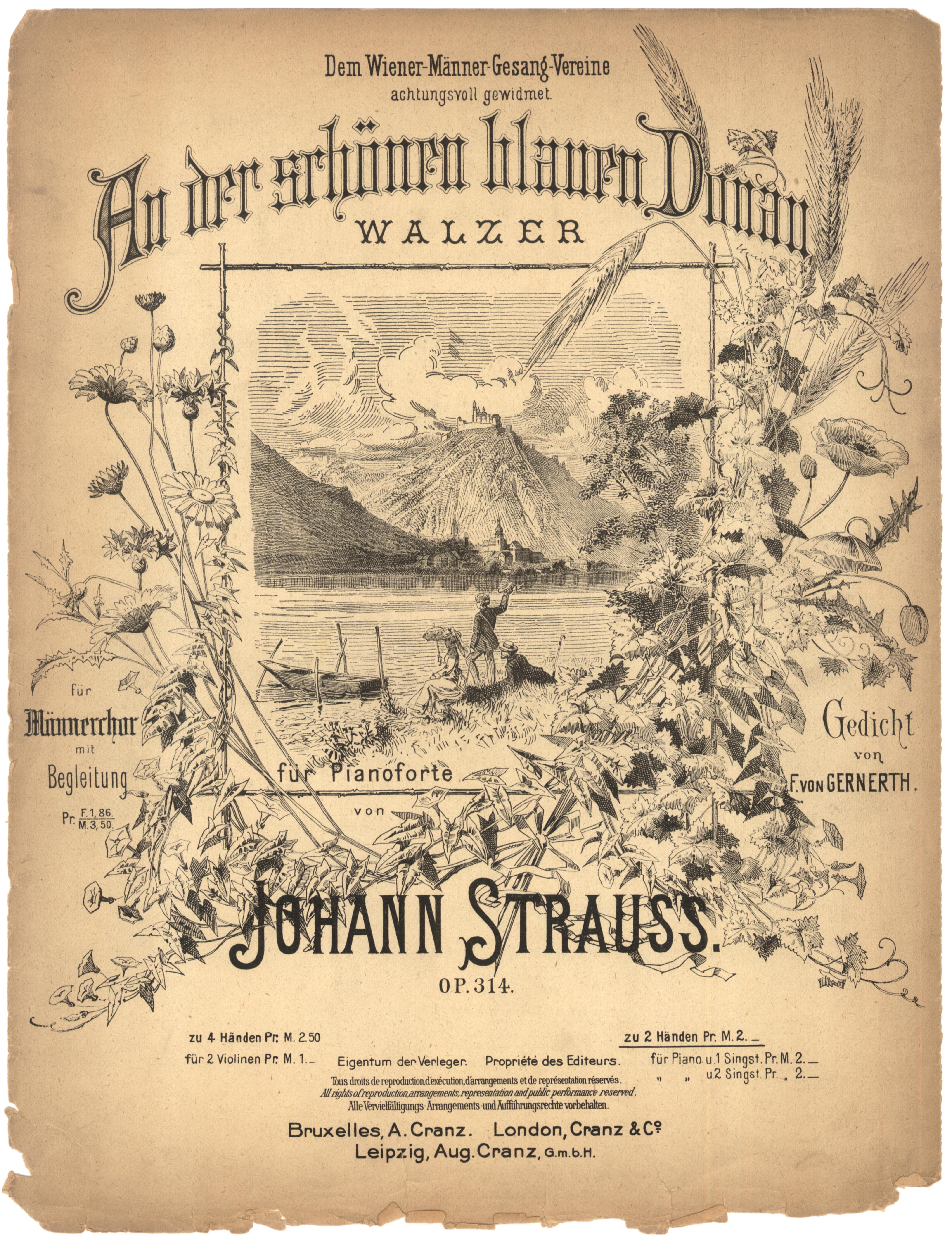 Первое европейское издание вальса Иоганна Штрауса-сына «На прекрасном голубом Дунае». – Брюссель, Лондон, Лейпциг, 1867.