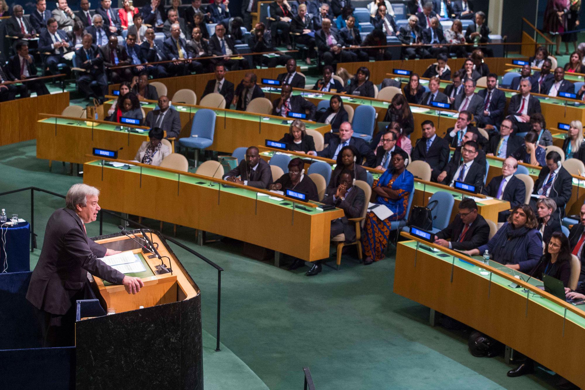 Выступления Антониу Гуттериша в ООН всегда становились заметными событиями. Источник http://static.un.org/.
