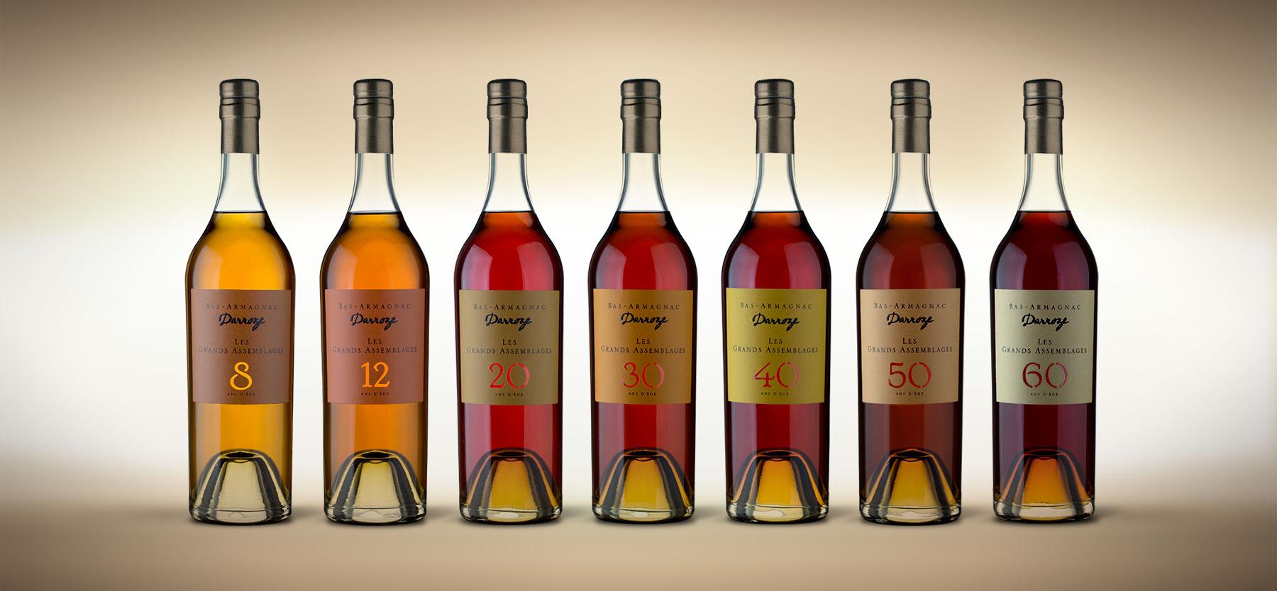 Так меняется с годами цвет элитного напитка Источник http://darroze-armagnacs.fr/