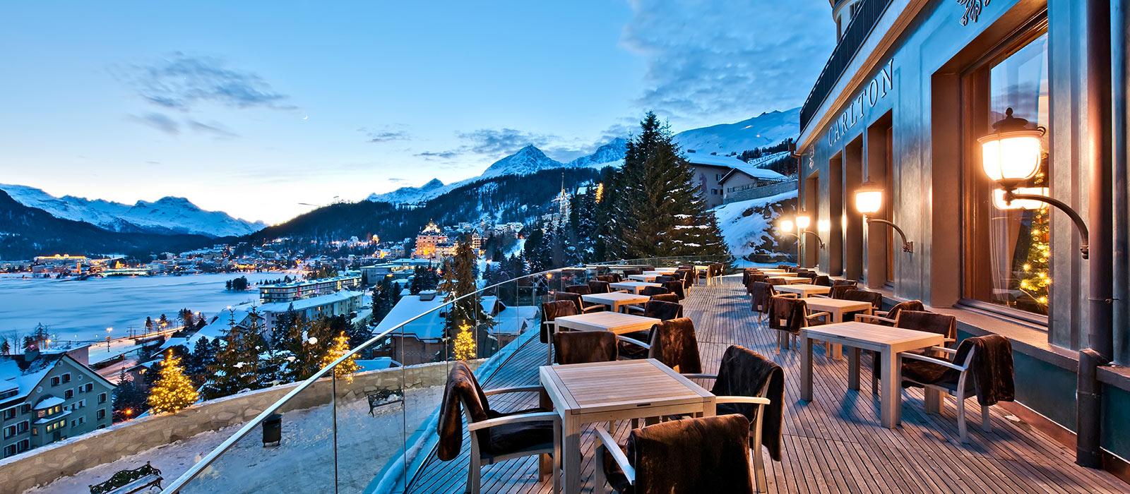 Вечерний вид с террасы отеля Carlton Источник http://carlton-stmoritz.ru/