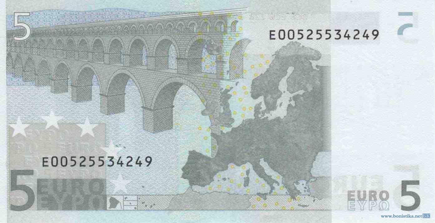 Банкнота 2002 года номиналом 5 евро: цвет – серый, архитектурный стиль – античный. Источник https://bonistika.net/