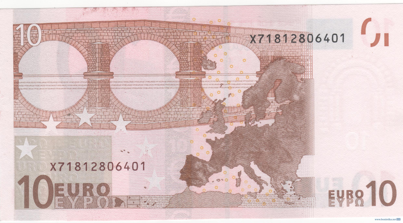 Банкнота 2002 года номиналом 10 евро: цвет – красный, архитектурный стиль – романский. Источник https://bonistika.net/