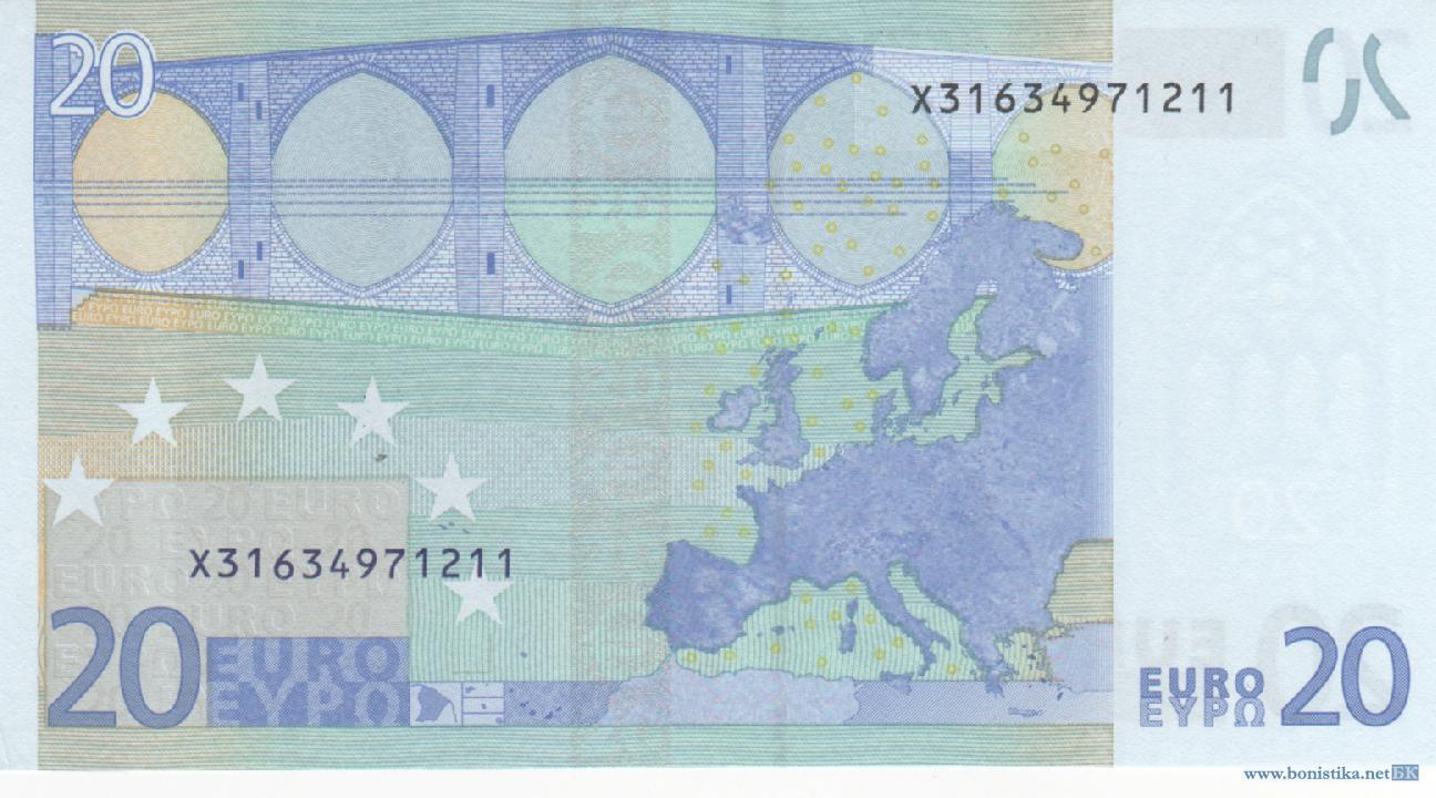 Банкнота 2002 года номиналом 20 евро: цвет – синий, архитектурный стиль – готический. Источник https://bonistika.net/