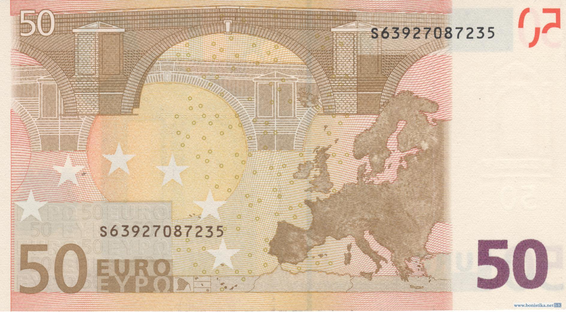 Банкнота 2002 года номиналом 50 евро: цвет – оранжевый, архитектурный стиль – Ренессанс (Возрождение). Источник https://bonistika.net/