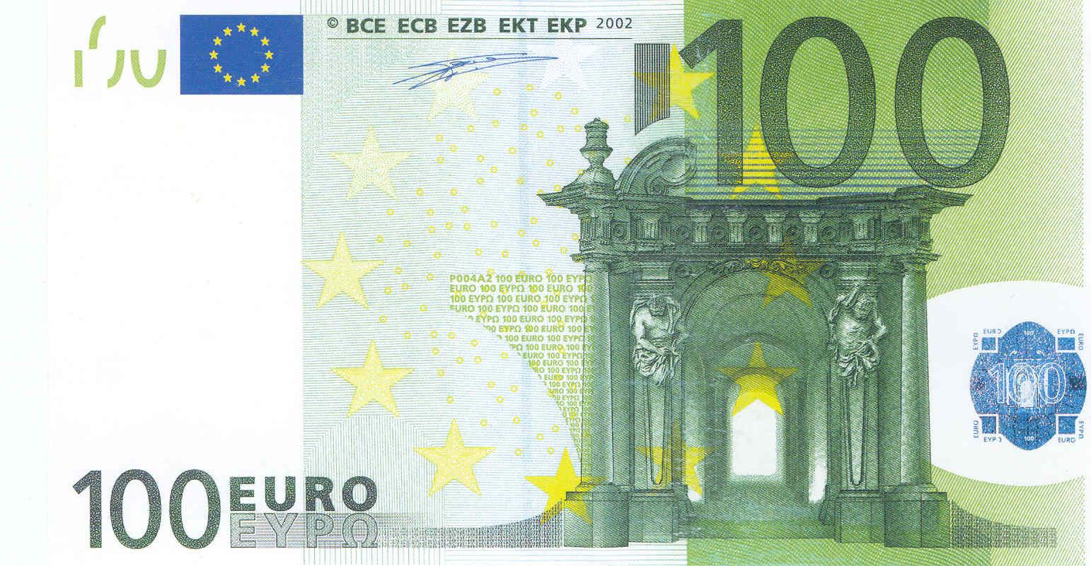 Банкнота 2002 года номиналом 100 евро: цвет – зеленый, архитектурный стиль – барокко. Источник http://raznie.ru/