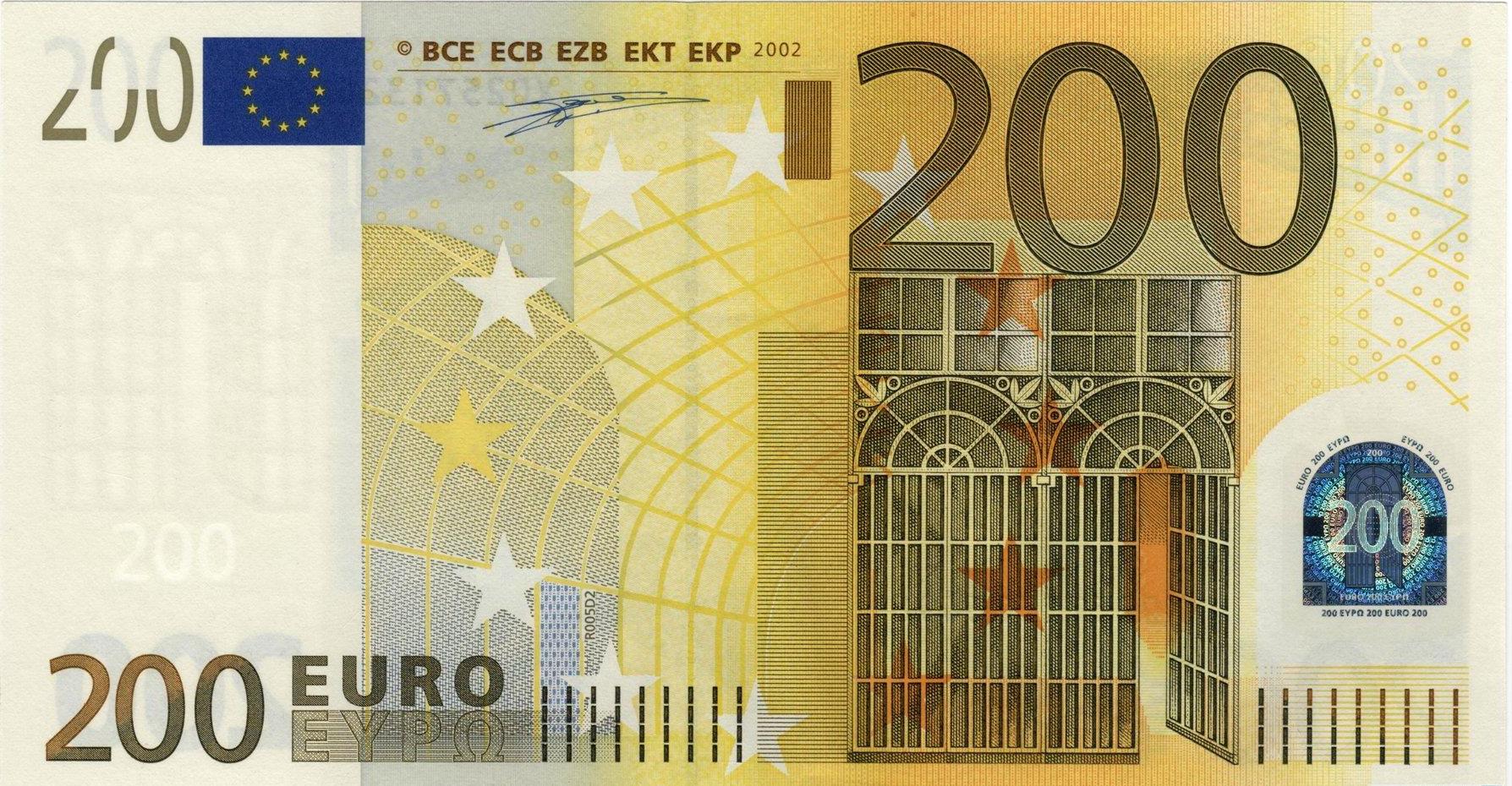Банкнота 2002 года номиналом 200 евро: цвет – желтый, архитектурный стиль – индустриальный (модерн). Источник http://banknotes.finance.ua/