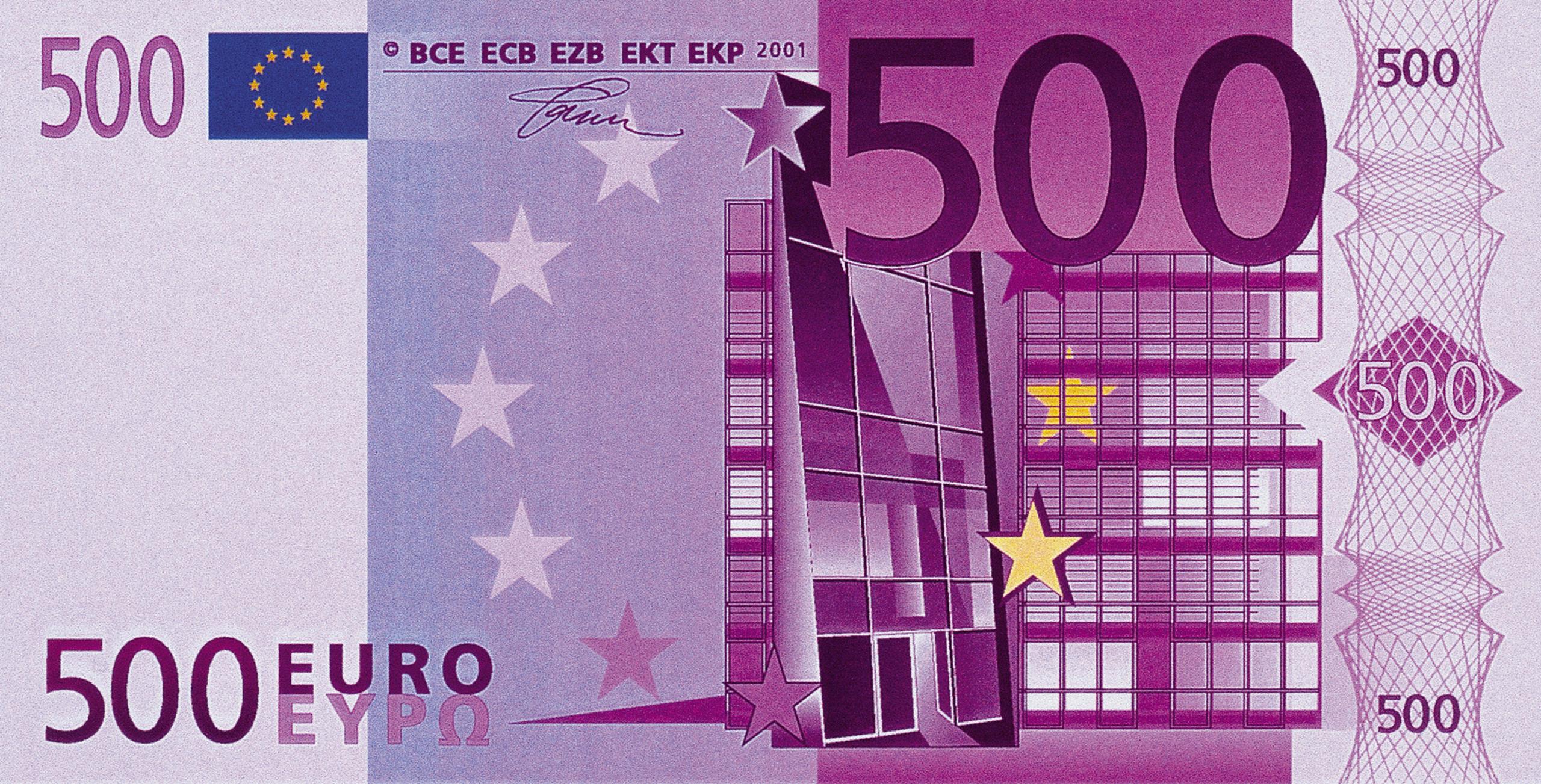 Банкнота 2002 года номиналом 500 евро: цвет – фиолетовый, архитектурный стиль – современная архитектура. Источник http://raznie.ru/