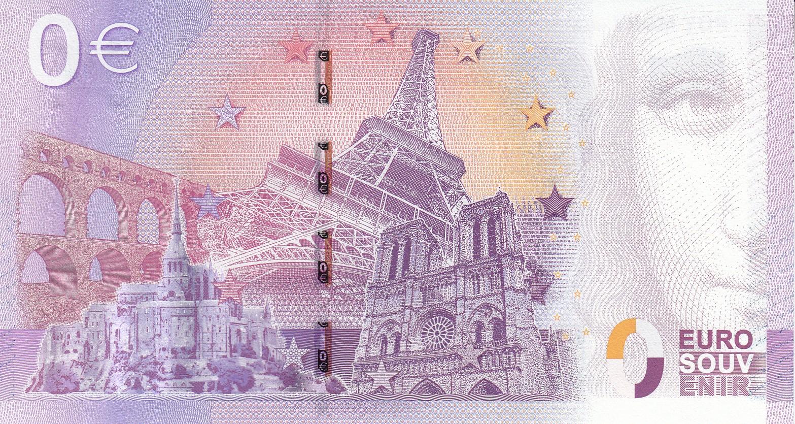 Шуточная сувенирная банкнота 0 евро с коллажем из самых известных реально существующих объектов Франции. Источник http://www.mcoin.ru/