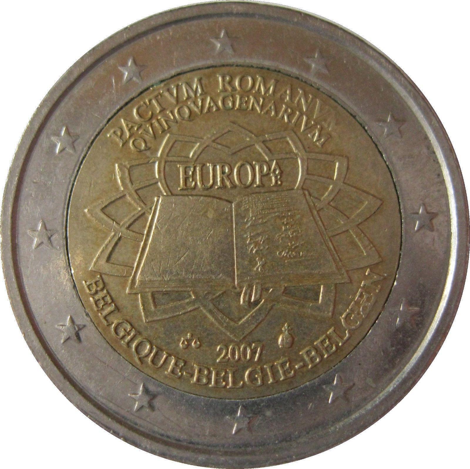 Монета номиналом 2 евро (Бельгия), посвященная 50-летию Римского договора. Источник https://static.raritetus.ru/