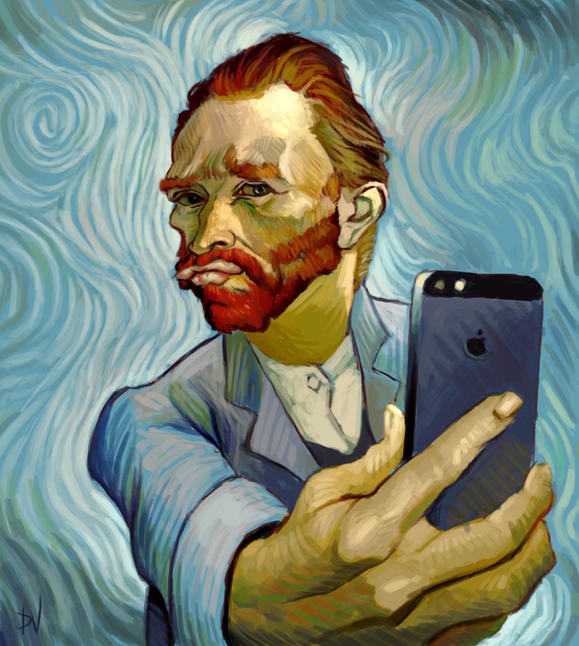 Коллаж студента Академии Университета искусств Дилана Вермеля, опубликованный в качестве иллюстрации к статье Selfie vs Self-Portreit, опубликованной в газете Academy Art U News. Источник http://academyartunews.com/