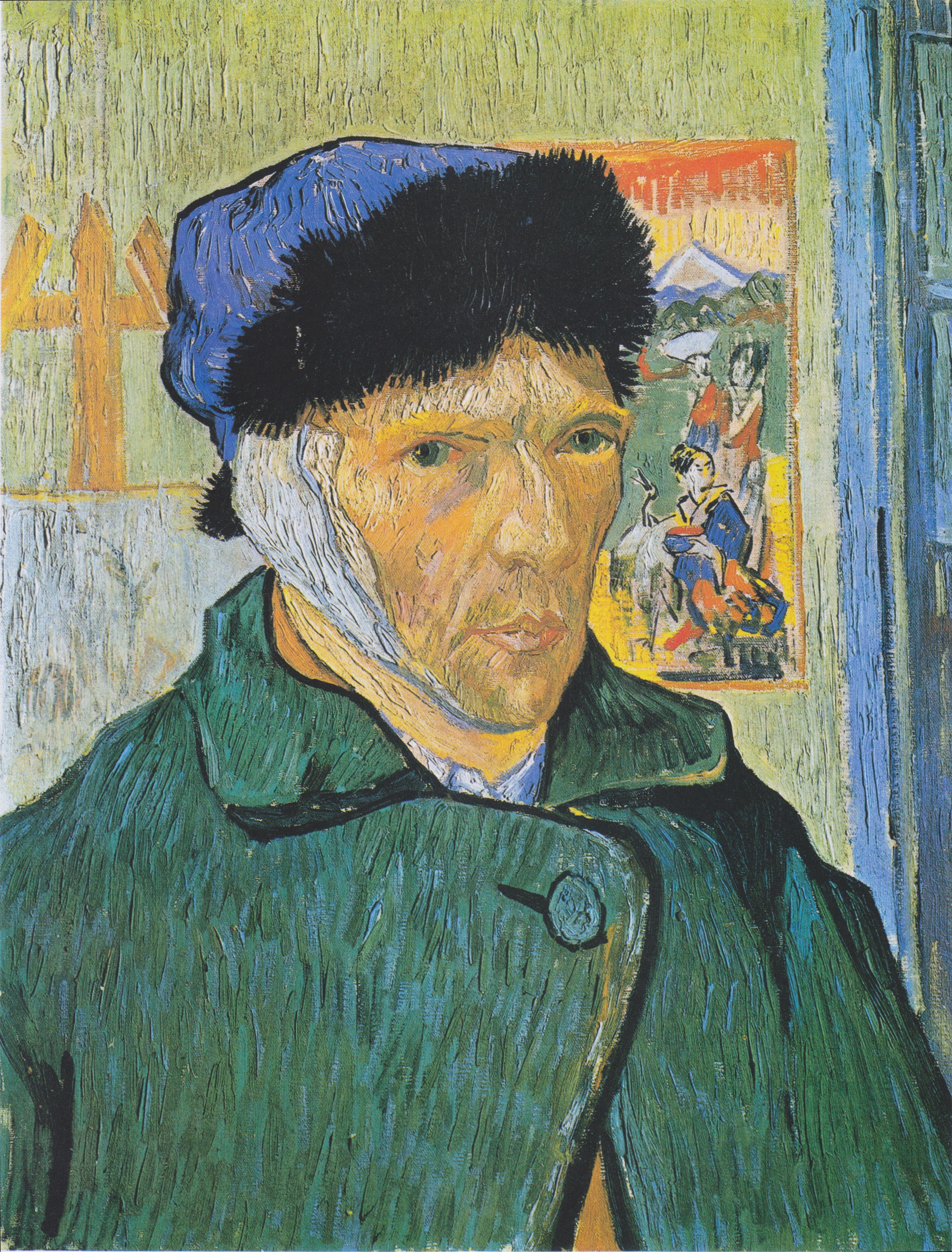 Винсент ван Гог (1853-1890). Автопортрет с перевязанный ухом. 1889. Масло, холст. 60х49 см. Куртланд, Лондон. Источник  https://upload.wikimedia.org/