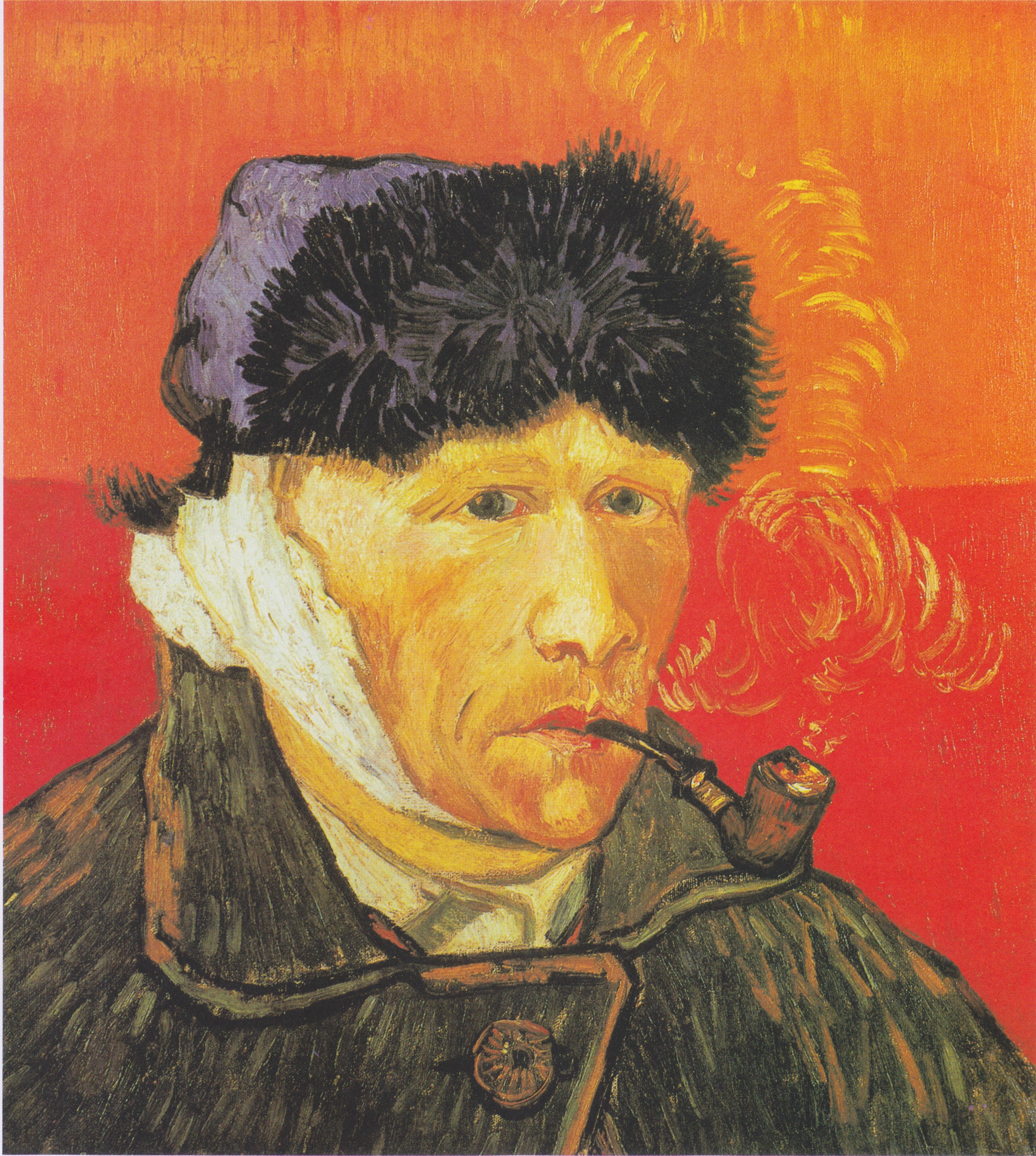Винсент ван Гог (1853-1890). Автопортрет с отрезанным ухом и трубкой. 1889. Масло, холст. 51х45 см. Цюрих Кунстхуас музей. Источник  https://upload.wikimedia.org/