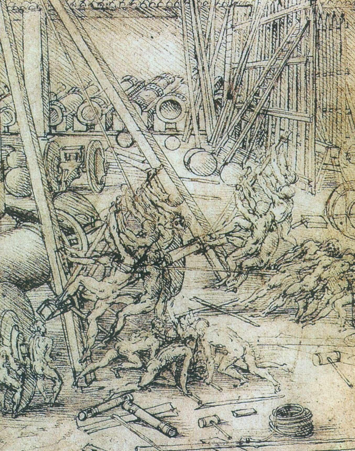 Леонардо да Винчи. Рисунок военных маших. 1487-1490. Королевская библиотека, Виндзор (Англия). Источник http://artsabbia.by/