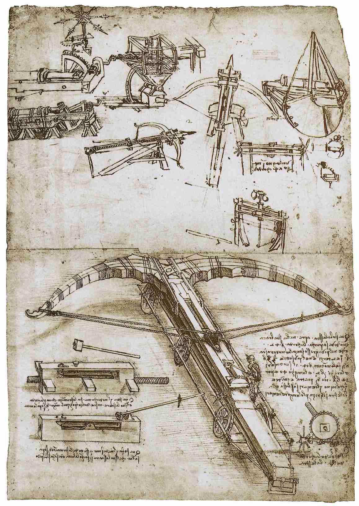 Гигантский арбалет. Рисунок Леонардо да Винчи. Источник http://tradiciadrevnih.ru/