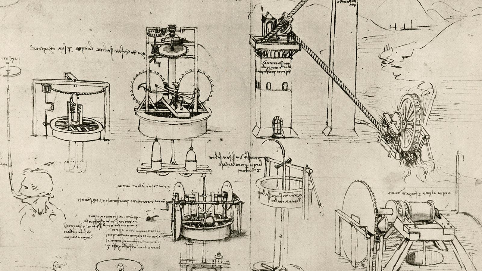 Машины и механизмы. Рисунок Леонардо да Винчи. Источник http://afisha.mosreg.ru/