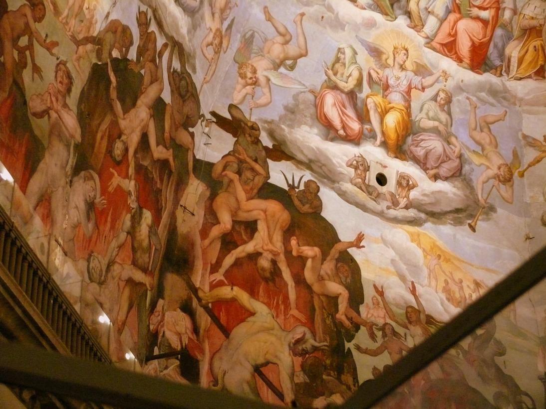Картины Ада, представленные в первом ряду, по контрасту сменяются изображениями Добродетели во втором ряду. Источник http://1.bp.blogspot.com/