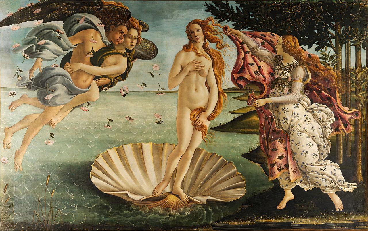 Сандро Боттичелли. Рождение Венеры. 1482–1486. Темпера, холст. 172,5х278,5 см. Уффици, Флоренция, Италия. Источник http://poeu.ru/