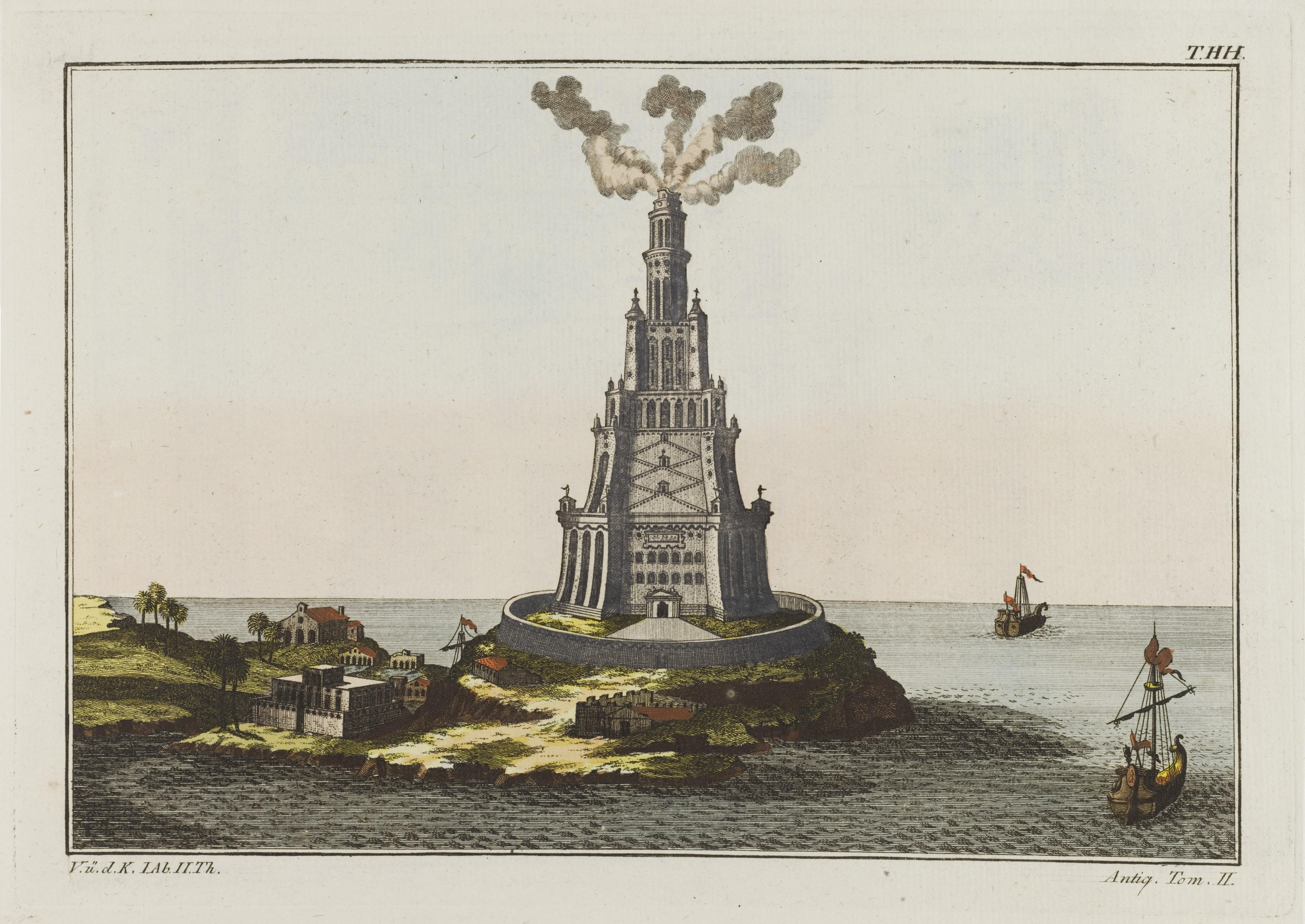 Александрийский маяк. Гравюра-реконструкция начала XIX века. Источник https://upload.wikimedia.org/