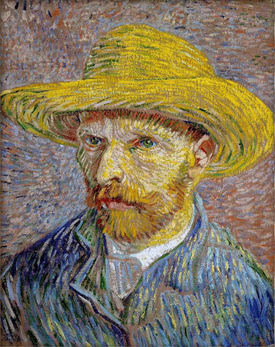Винсент Ван Гог. Автопортрет в соломенной шляпе IV. 1887–1888. Масло, холст. 40,6х31,8 см. Метрополитен-музей, Нью-Йорк, США. Источник http://vangogen.ru/