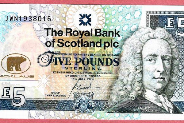 Лицевая сторона банкноты в 5 фунтов стерлингов. Эмиссия Королевского банка Шотландии, 2005. Источник иллюстраций: Банк Шотландии